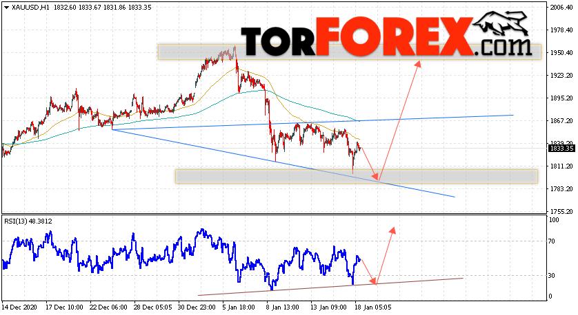 XAU/USD прогноз цен на Золото на 19 января 2021