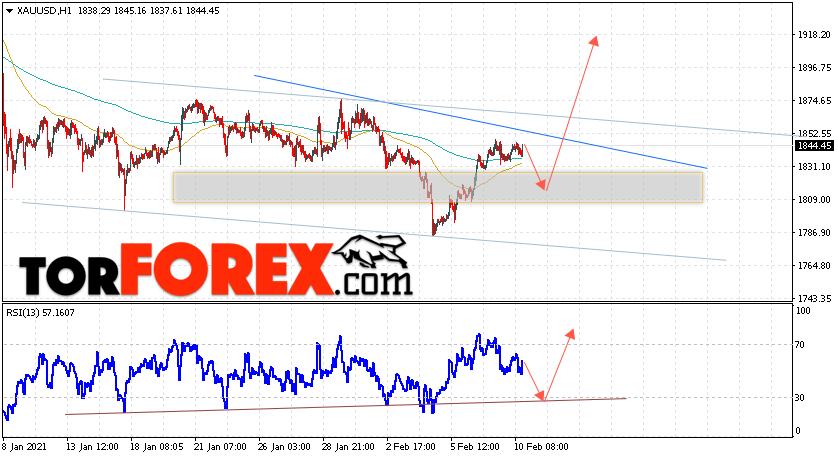 XAU/USD прогноз цен на Золото на 11 февраля 2021
