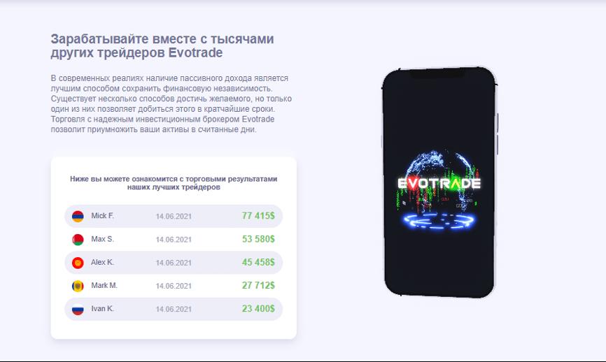 Главная информация про компанию Evotrade